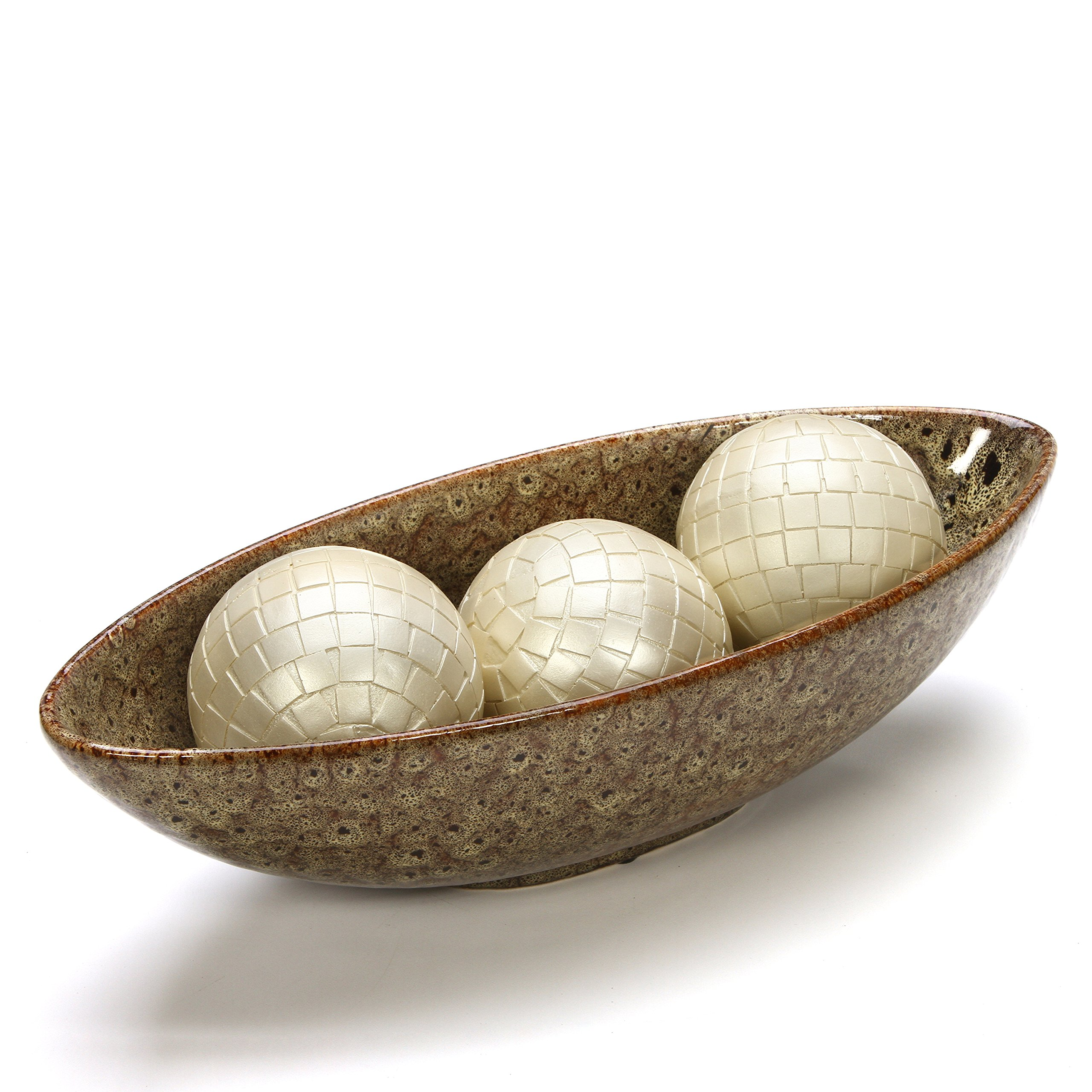 Hosley 15.75'' Long Ceramic Bowl, Ideal for Potpourri, Orbs. Ideal Gift for Wedding, Bridal, Party, Home Decor, LED Votive Tea Light Gardens O3