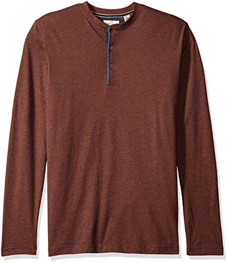 fcfd9256 Weatherproof Vintage Men's Brushed Jersey Henley with Chambray Trim, Rum  Raisin Small