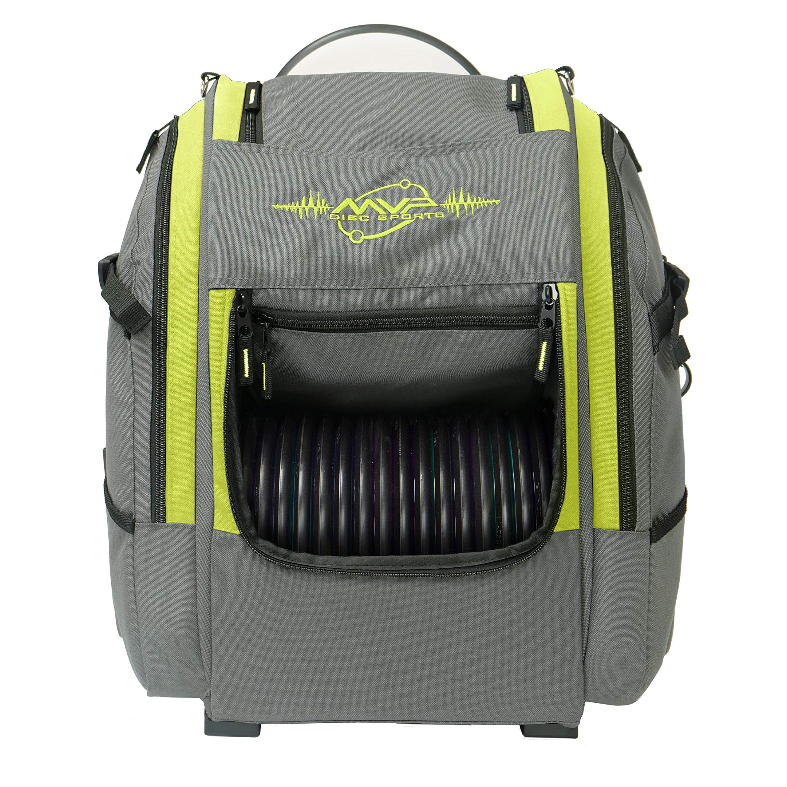 MVP Disc Sports Voyager Backpack Disc Golf Bag (Version 2) Gray/Lime by MVP Disc Sports