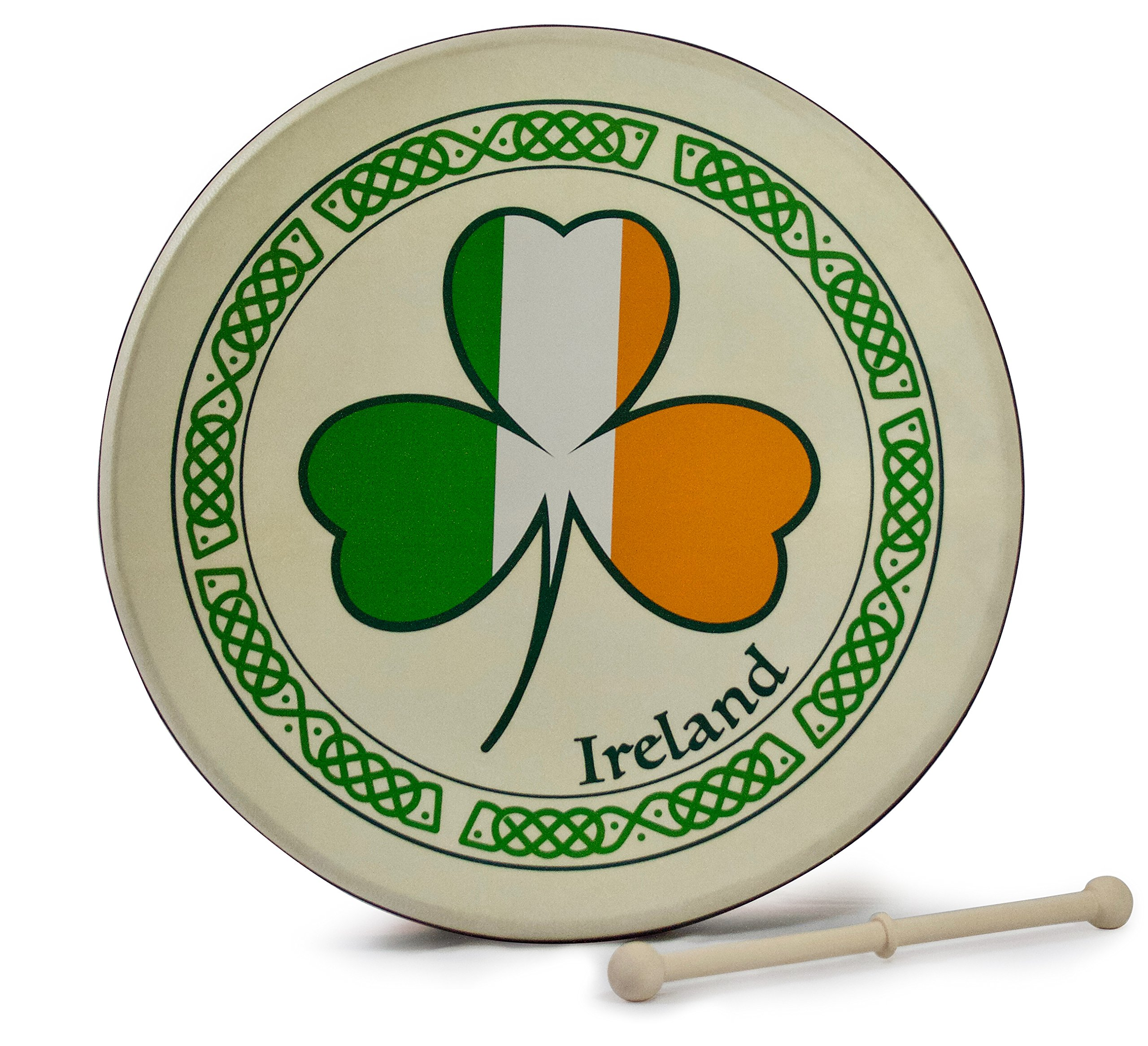 Waltons 15 Inch Tricolour Shamrock Bodhrán - Handcrafted Irish Instrument - Crisp & Musical Tone - Hardwood Beater Included w/Purchase
