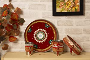 Indotribe 4pc Red Karwa Chauth Thali Set Karva Chauth Thali Set Karwa Chauth Pooja Thali Karva Chauth Set Diwali Decorations Diwali Gifts Indian Decor Decorative Plates Puja Thali Puja Items Thali Set