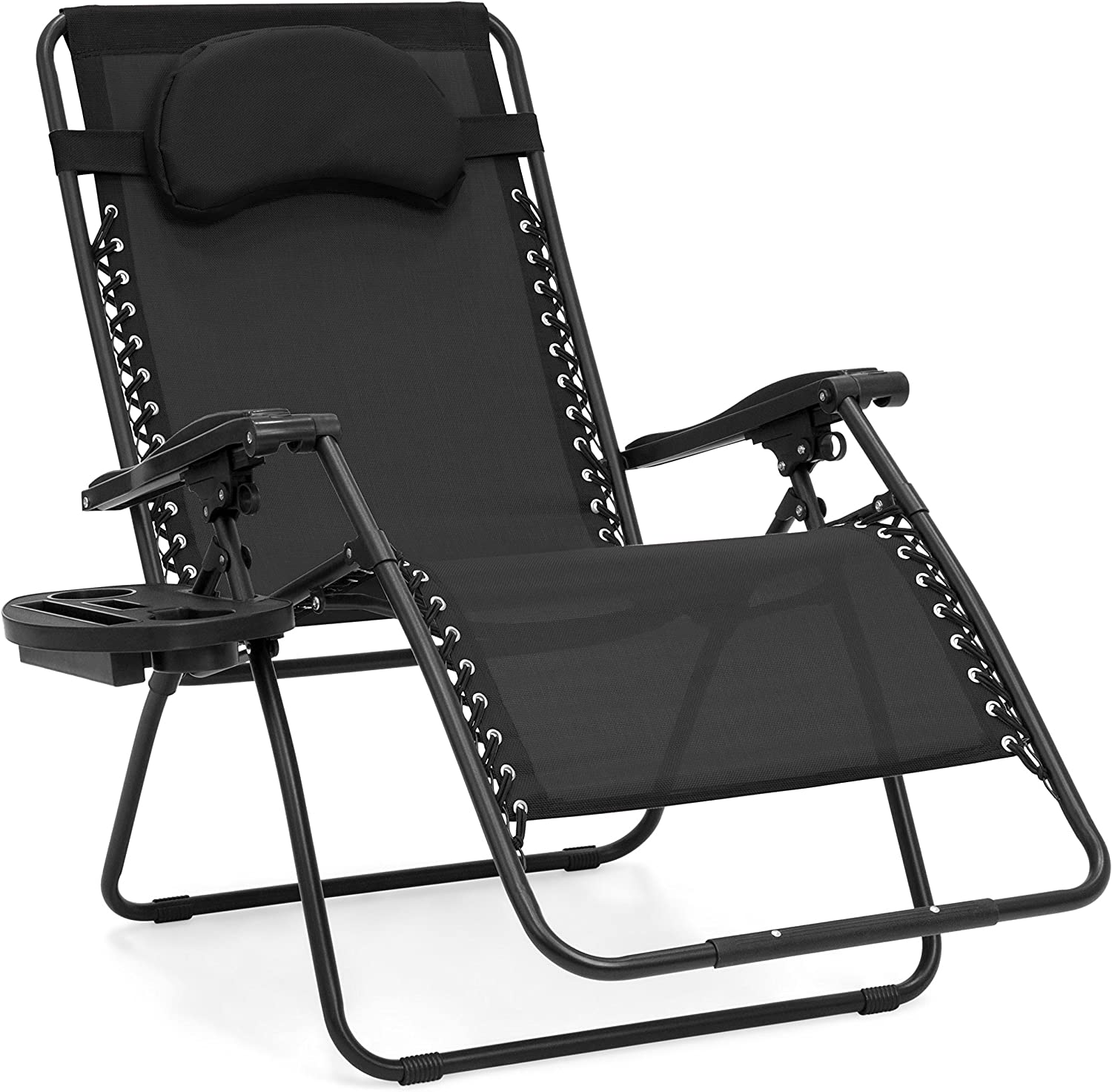 Best Choice Products Oversized Folding Mesh Zero Gravity Recliner Chair w Cup Holder Accessory Tray and Removable Pillow, Black
