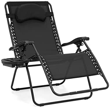 Best Choice Products Oversized Folding Mesh Zero Gravity Recliner Chair with Cup Holder Accessory Tray and Removable Pillow, Black