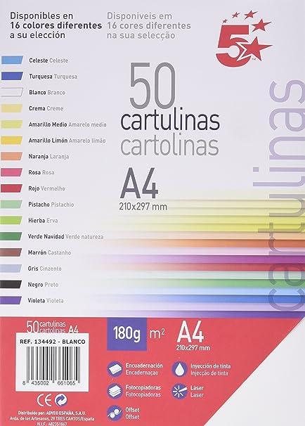 Unipapel 134492 - Paquete de 50 hojas A4 cartulina, color blanco ...