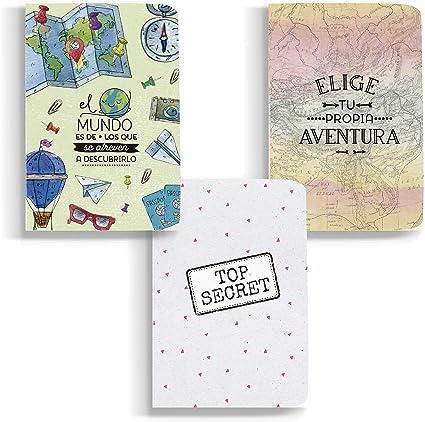 Happymots - Pack de 3 Libretas A6 Bonitas para Escribir o Dibujar. 48 Páginas de Papel Reciclado