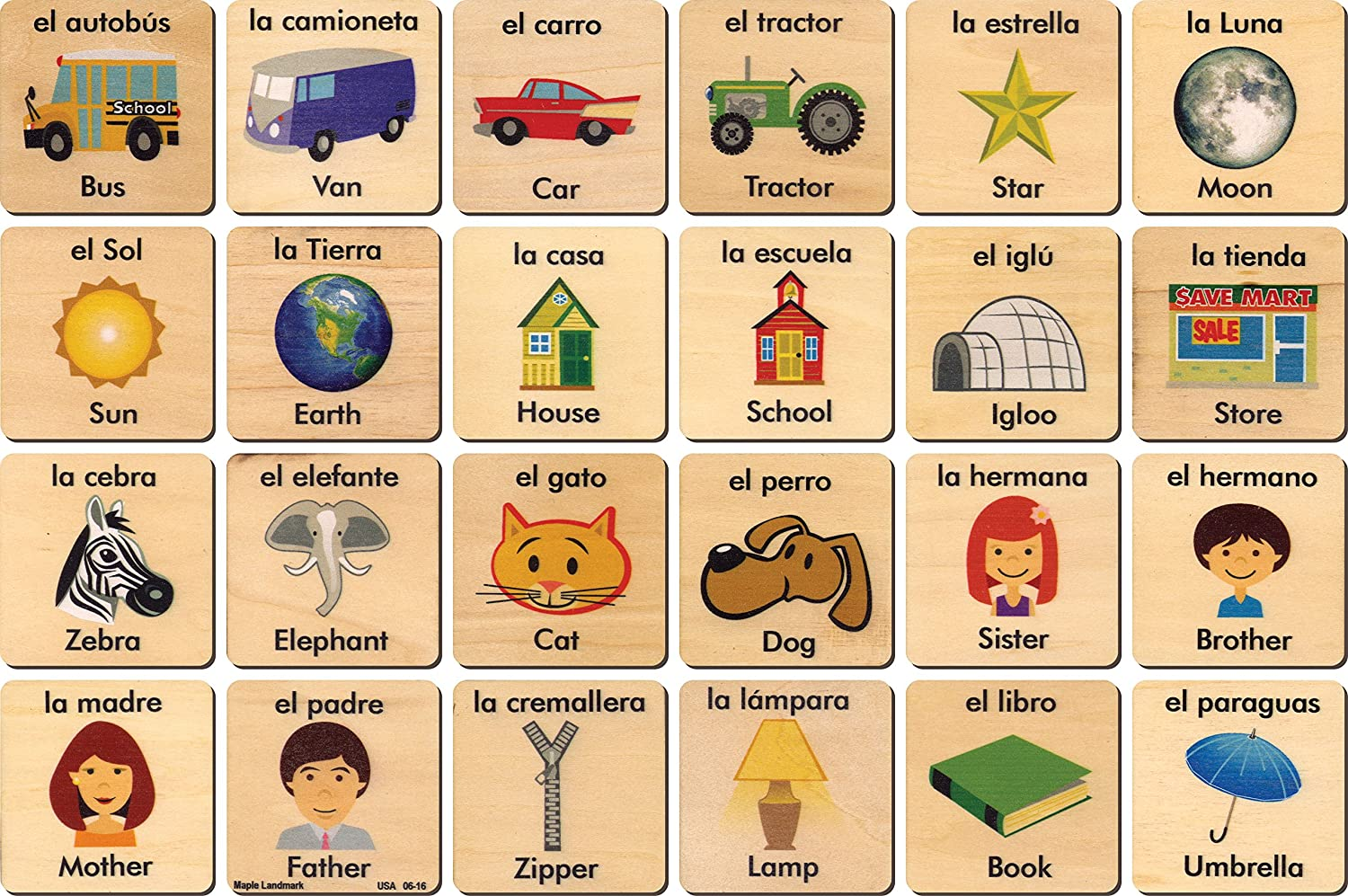Amazon.com: Teach and Play Tiles - Spanish and English - Made in USA: Toys & Games