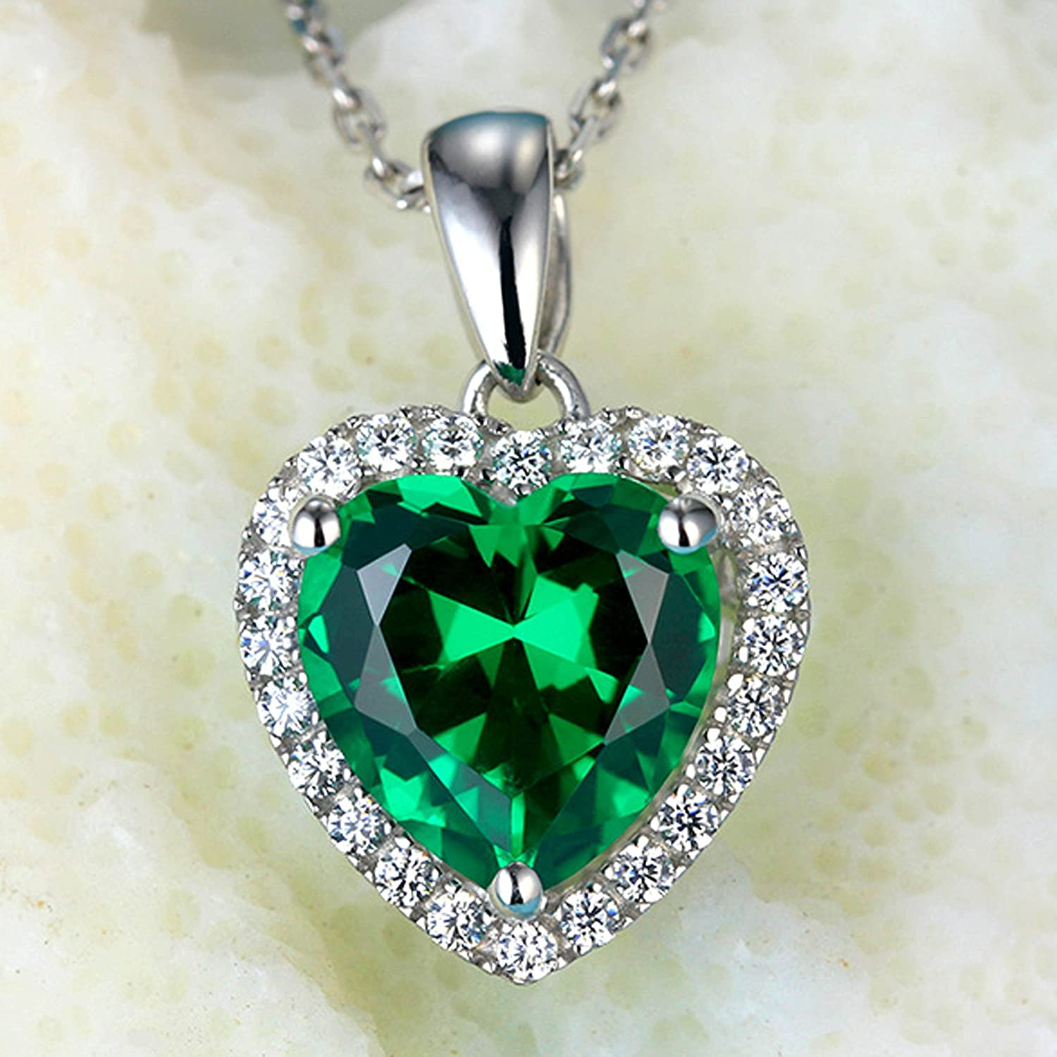 Navachi 925 Sterling Silver 18k White Gold Plated Heart 3.7ct Ruby or Emerald Necklace Pendant 16 flLhHNfb