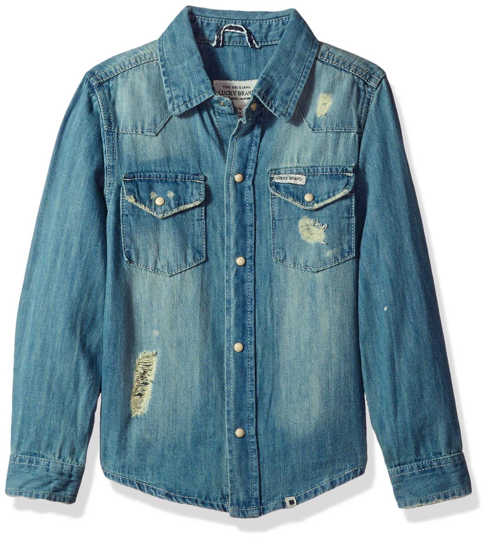 Lucky Brand Toddler Boys' Long Sleeve Light Denim Shirt, Light Blue, 3T
