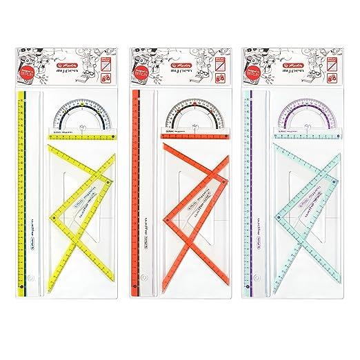 6 opinioni per Herlitz my.pen- Set da geometria composto da 2 squadre, 1 riga da 30 cm e 1
