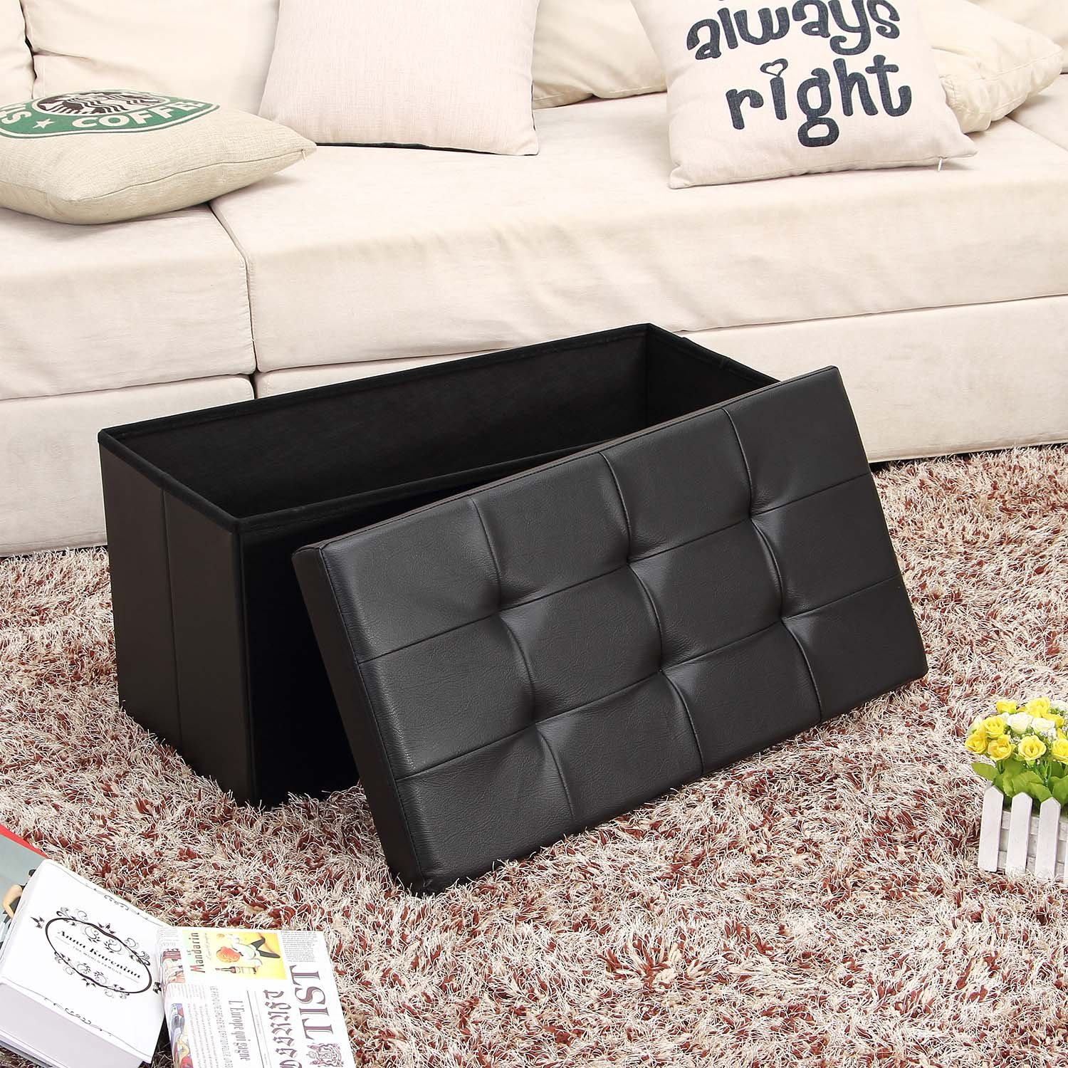 Ollieroo Faux Leather Folding Storage Ottoman Bench Foot Rest Stool Seat Black 30''X15''X15'' by Ollieroo (Image #2)