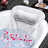 Susisal Bath Pillow for Tub, Bathtub Pillow with Neck Shoulder Back Support, 4D Air Mesh Bath Accessories, 6 Strong Suction C