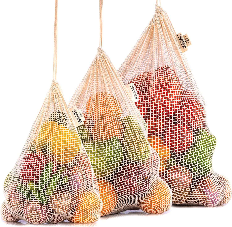 Reusable Produce Bags - Eco-Friendly Produce Bags - Mesh Produce Bags - NetZero Produce Bags - Cotton Produce Bag (3, Set of 3 - X-Large, Large, Medium)