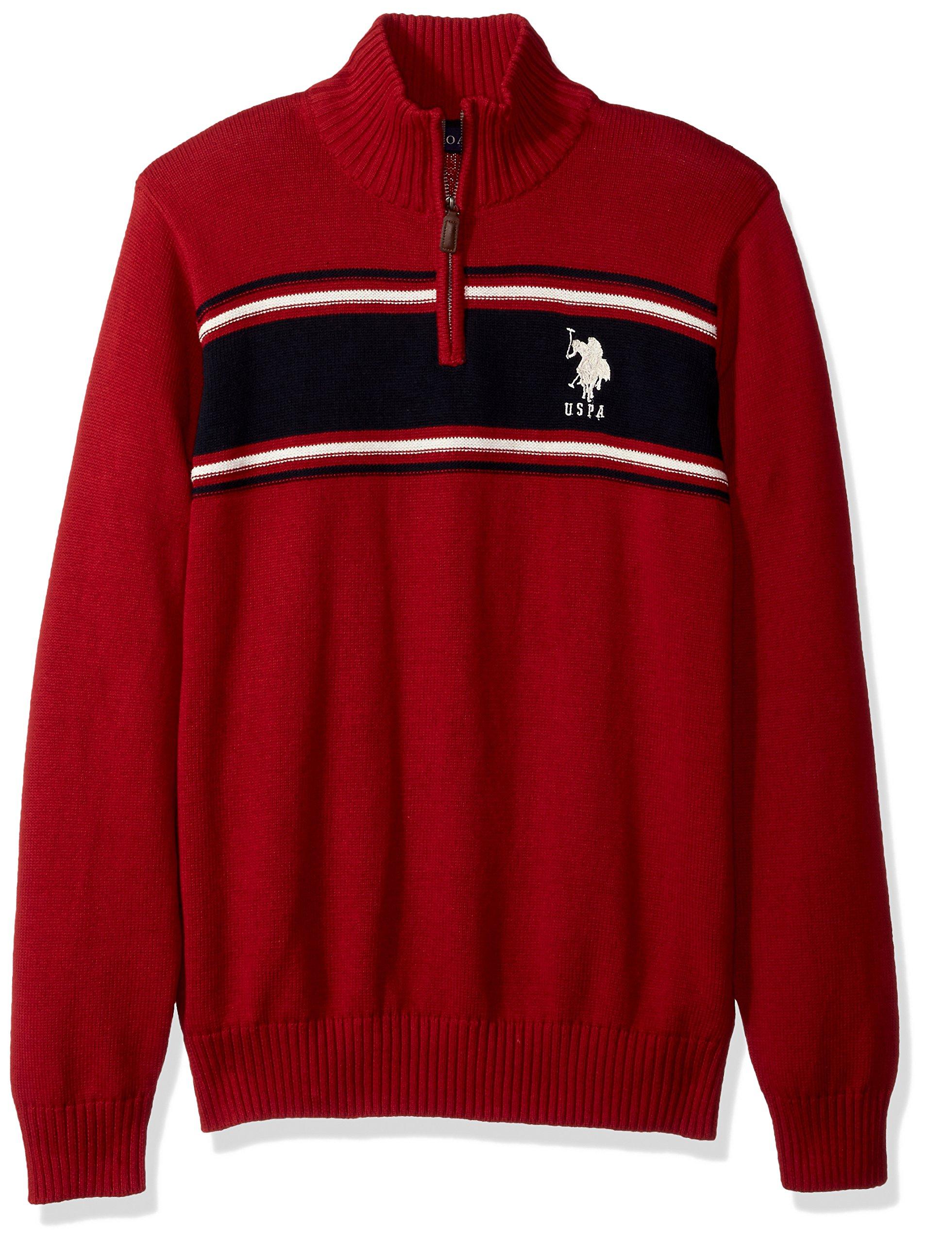 U.S. Polo Assn. Men's Chest Stripe 1/4 Zip Sweater, Apple Cinnamon, Medium