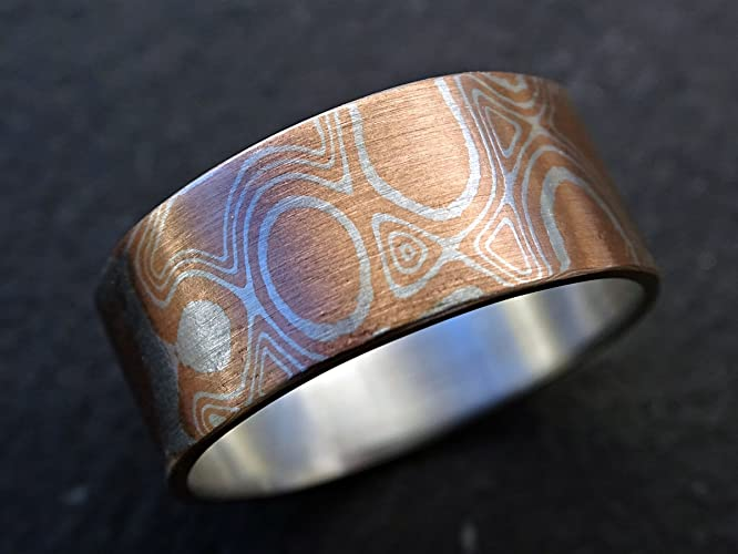 palladium wedding mokume mens s custom flat men band rings and