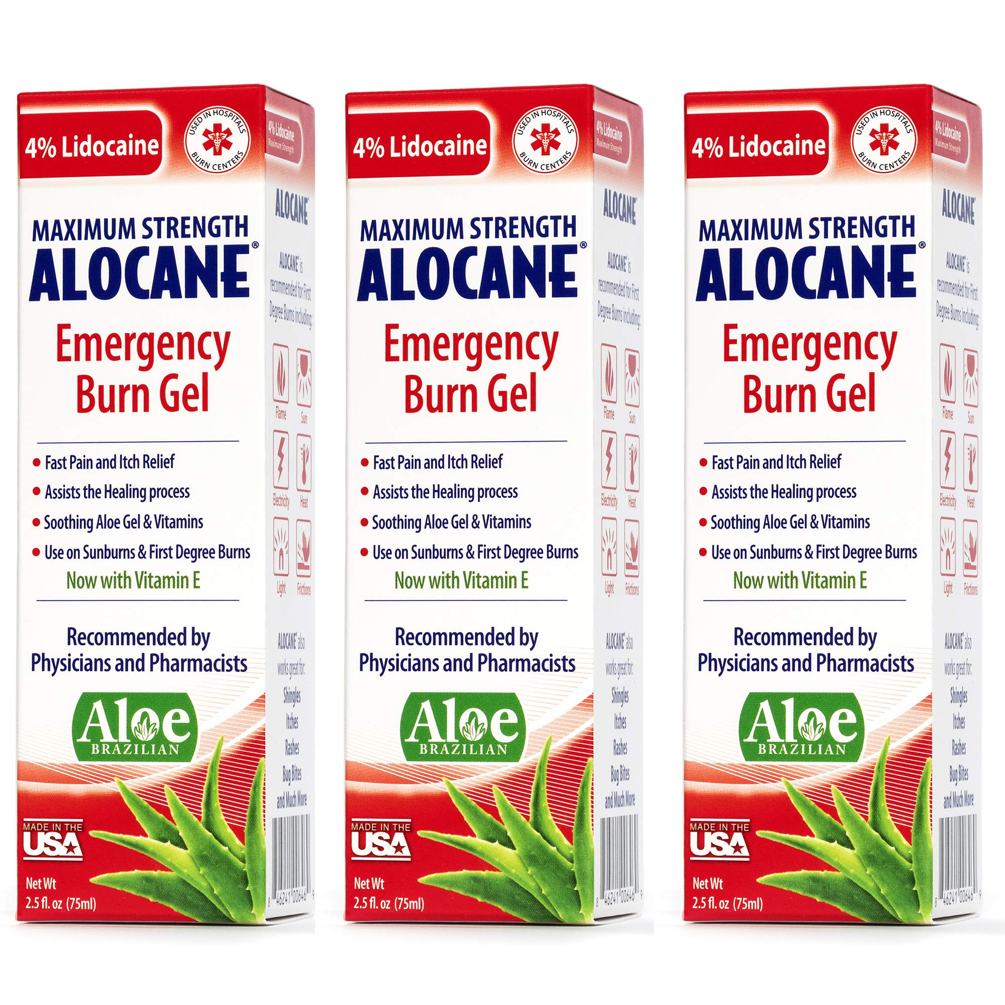 Alocane® Emergency Burn Gel 3 Pack, 4% Lidocaine Max Strength Fast Pain Itch Relief for Minor Burns, Sunburn, Kitchen, Radiation, Chemical, First Degree Burns, First Aid Treatment Burn Care 2.5 Fl Oz by Alocane