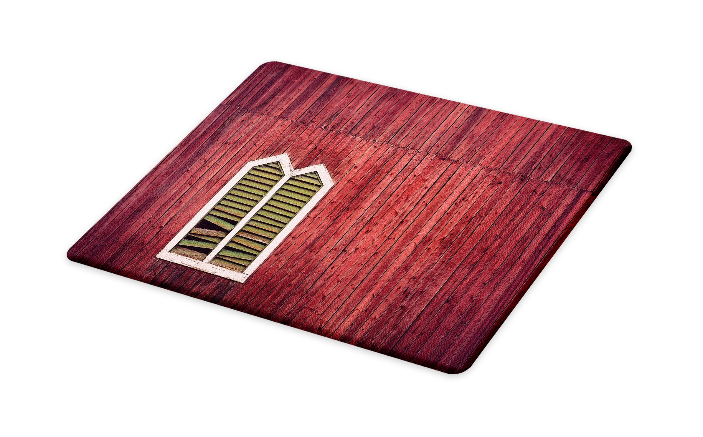 Lunarable Shutters Cutting Board, Wooden Rustic Wall with Window and Broken Shutters Vertical Panels Traditional House, Decorative Tempered Glass Cutting and Serving Board, Large Size, Burgundy