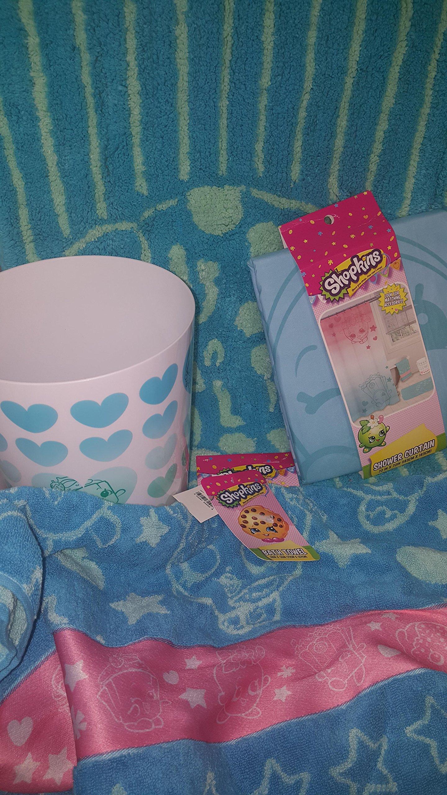 Shopkins Bathroom Bath Time Bundle, Trash Can, Towel, Rug, Shower Curtain