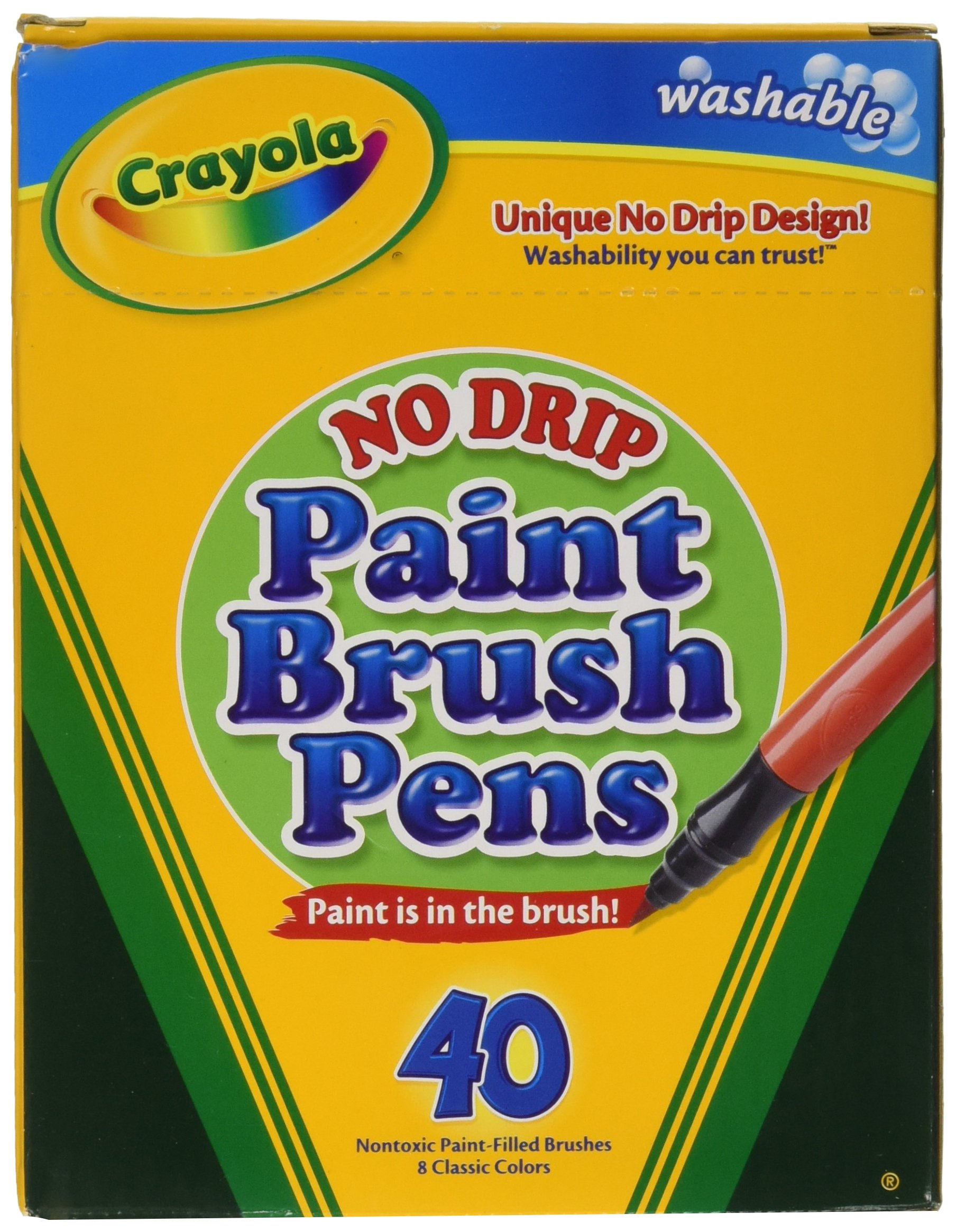 Crayola Paint Brush Pens, Washable Paints, 8 Colors, 40 Count by Crayola