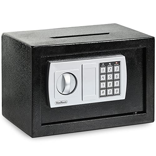 VonHaus Home Safe Box with Key & Electronic Keypad | 8.5 Litre Capacity | 4.3KG Solid Steel