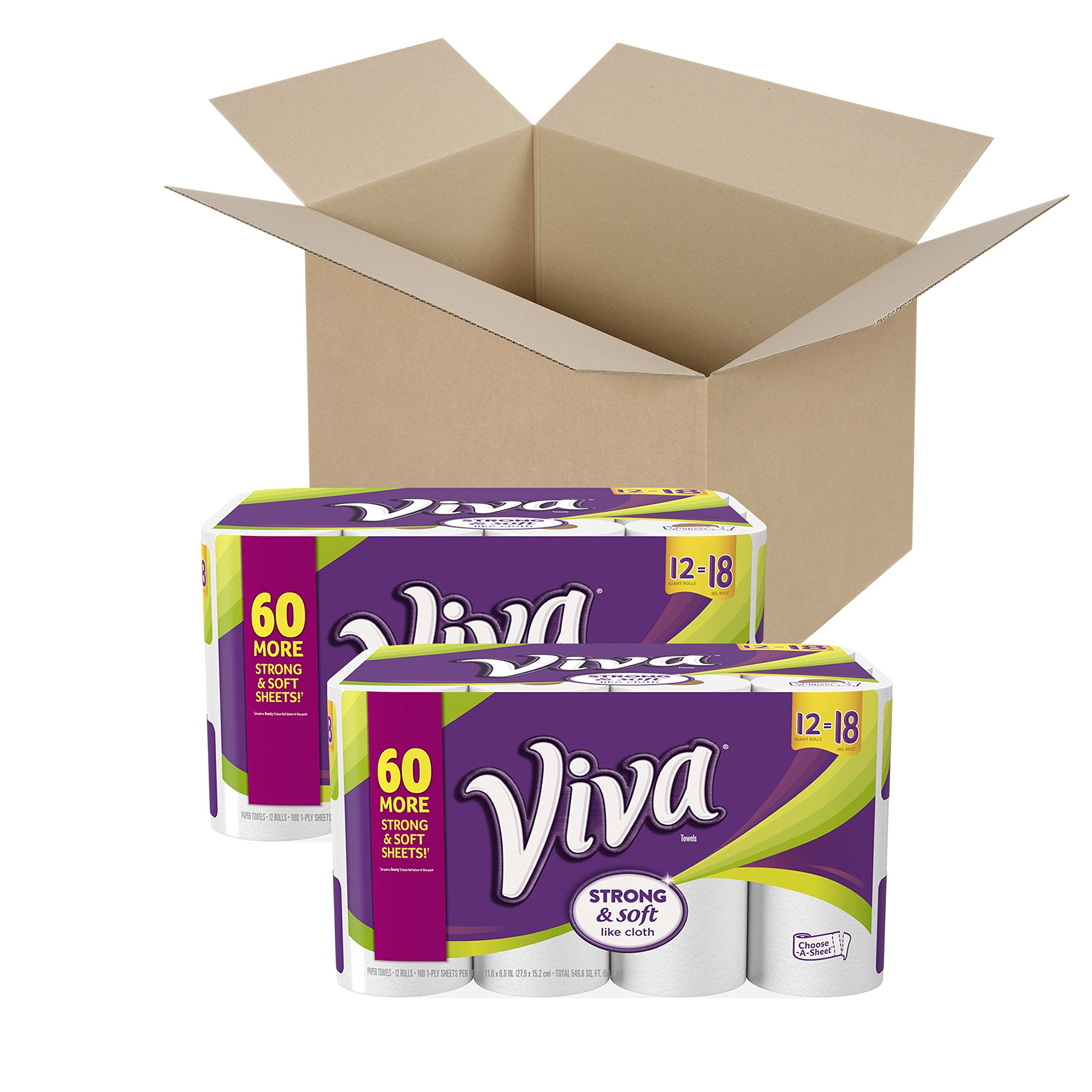 VIVA Choose-A-Sheet Paper Towels White Big Plus Roll (Pack of 4 6-Roll Packs), Cloth-Like Texture, Strong & Soft Paper Towels for Ultimate Clean