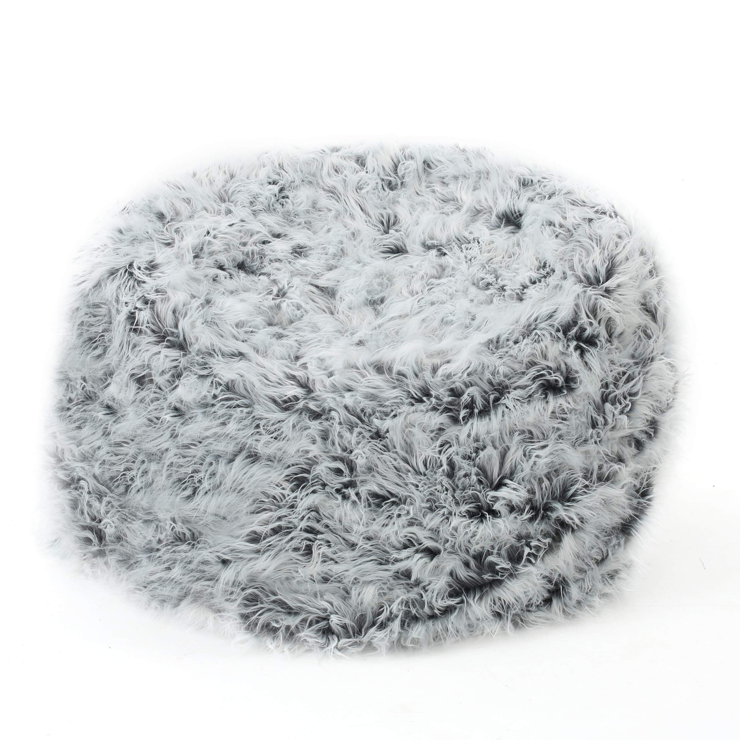 Christopher Knight Home 301706 Lycus Faux Fur Bean Bag Chair (Silver Grey) by Christopher Knight Home