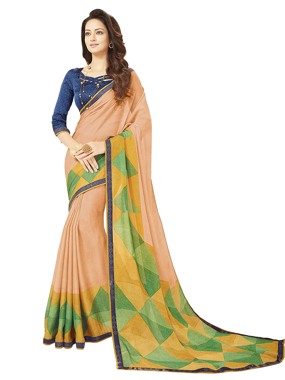 Glory Sarees Women's Printed Criva Crepe Saree(FT6006A_Multi-Coloured)