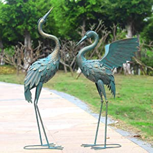 Oritty Standing Metal Crane Garden Statue Décor, Bird Garden Sculpture & Statues, Outdoor Decoration for Yard Patio Lawn Backyard Pool, Vintage Spread Wings Crane, Set of 2 …