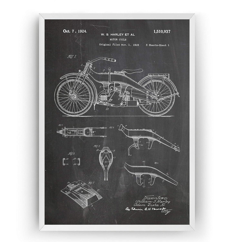 Harley Davidson Patent Print Art - Motorcycle - Poster ... on