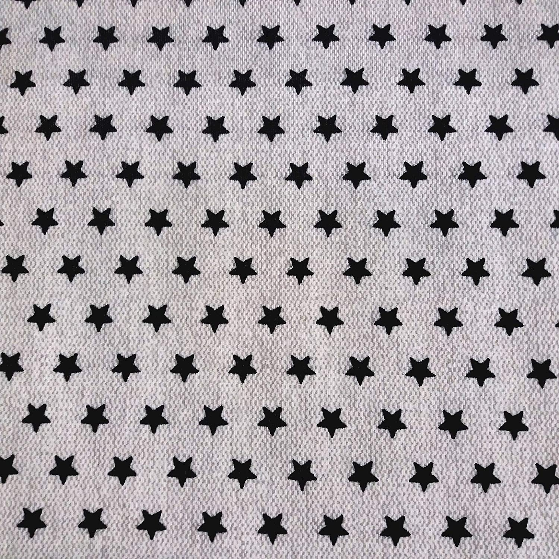 Staab s algodón Recubierto Tela Decorativa Beige/Negra Estrellas ...