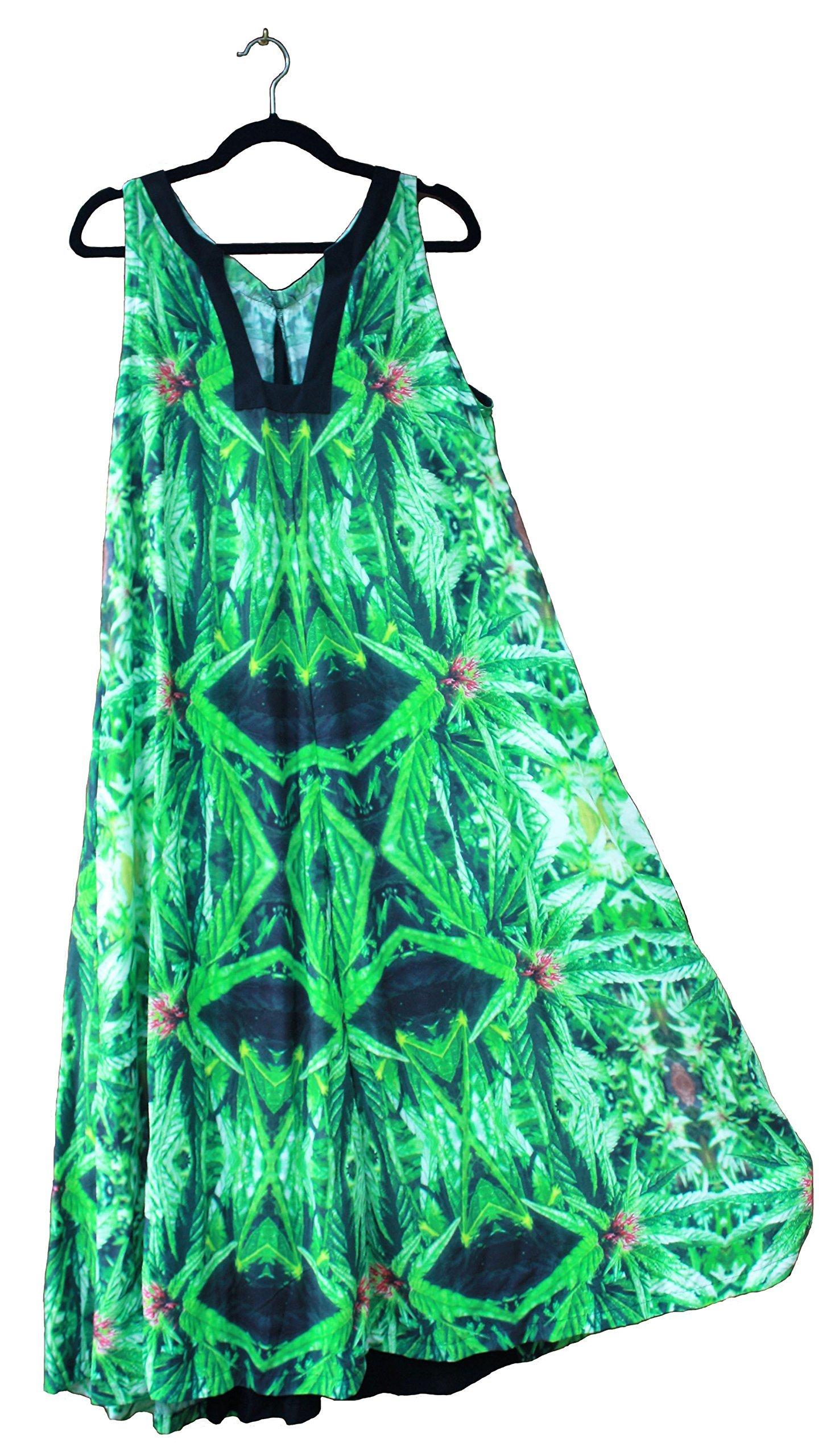 Hawaiian Floral Maxi Dress. Women Plus Size Wedding Resort Blue Widow Fractal Art Design-XL/XXL