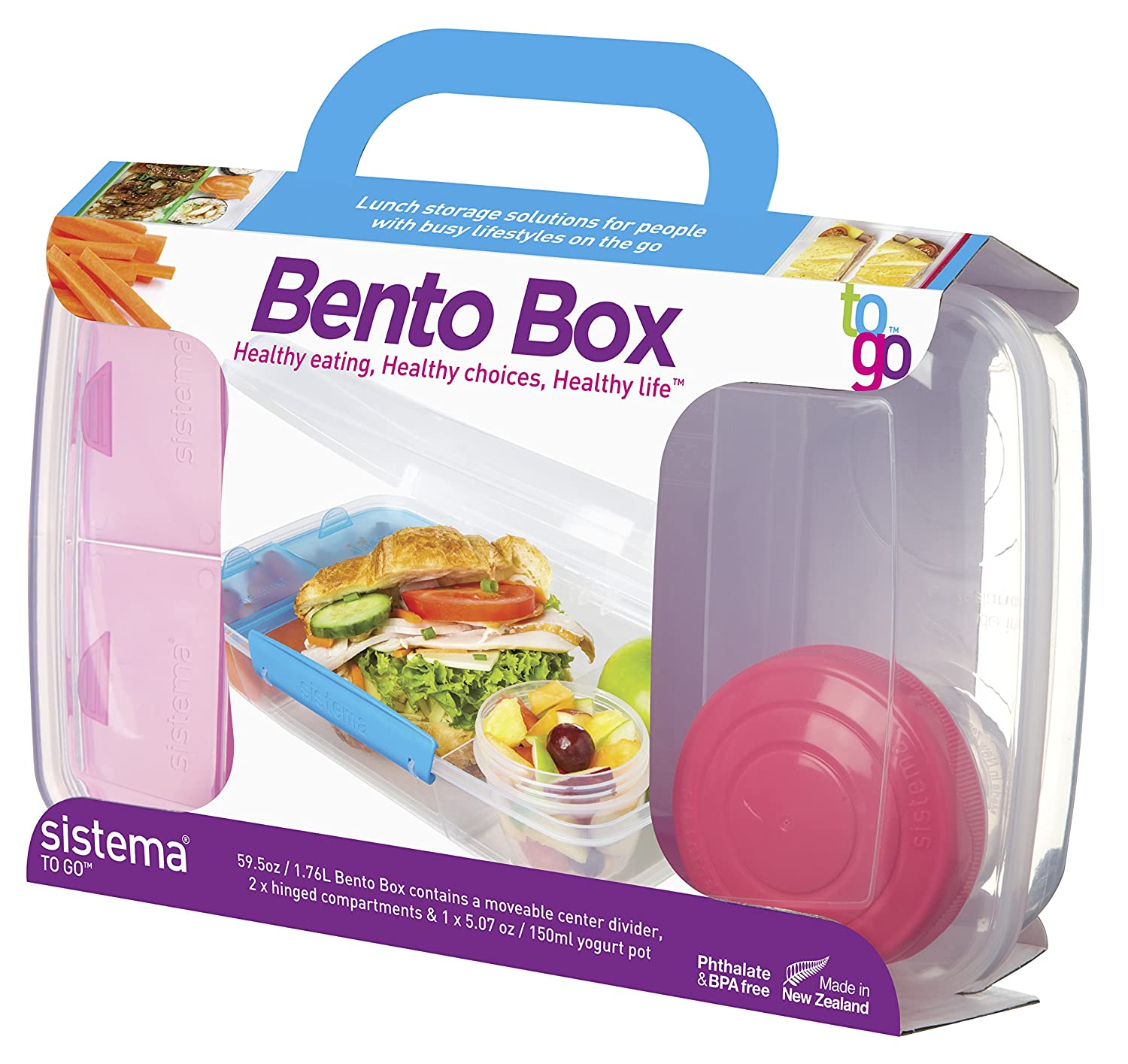 Amazon.com: Sistema To Go Collection Bento Box For Lunch And Food Storage,  Multicolor: Kitchen U0026 Dining