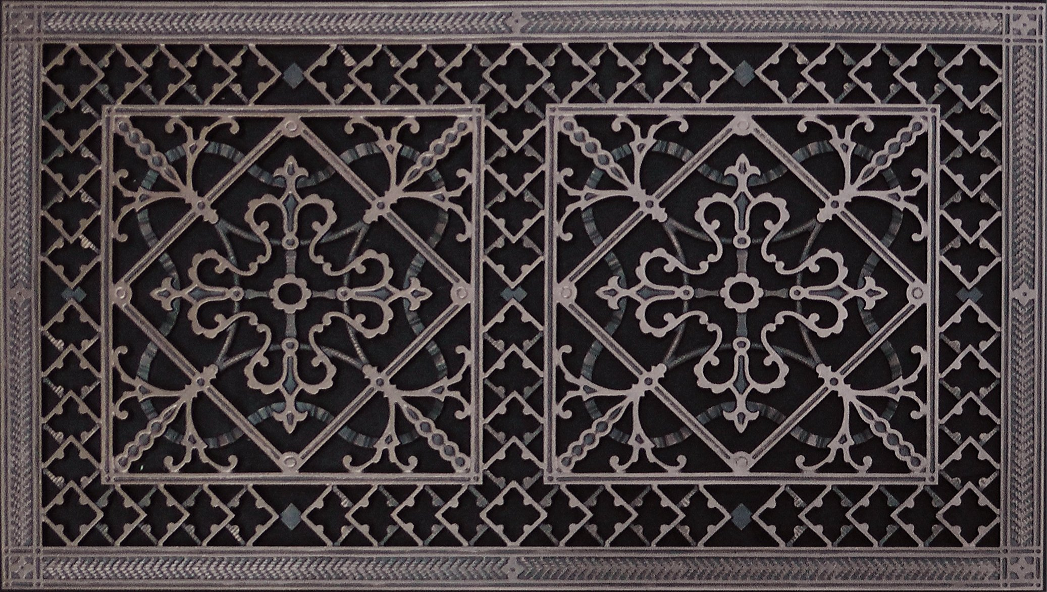 Decorative Grille, Vent Cover, or Return Register. Made of Urethane Resin to fit over a 16''x30'' duct or opening. Total size of vent is 18''x32''x3/8'', for wall and ceiling grilles (not for floor use).