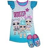 L.O.L Surprise! Girls Pajama Set, Dorm PJs with Slippers, Rocker Diva MC Swag Opal Q.T. Pearl Q.T