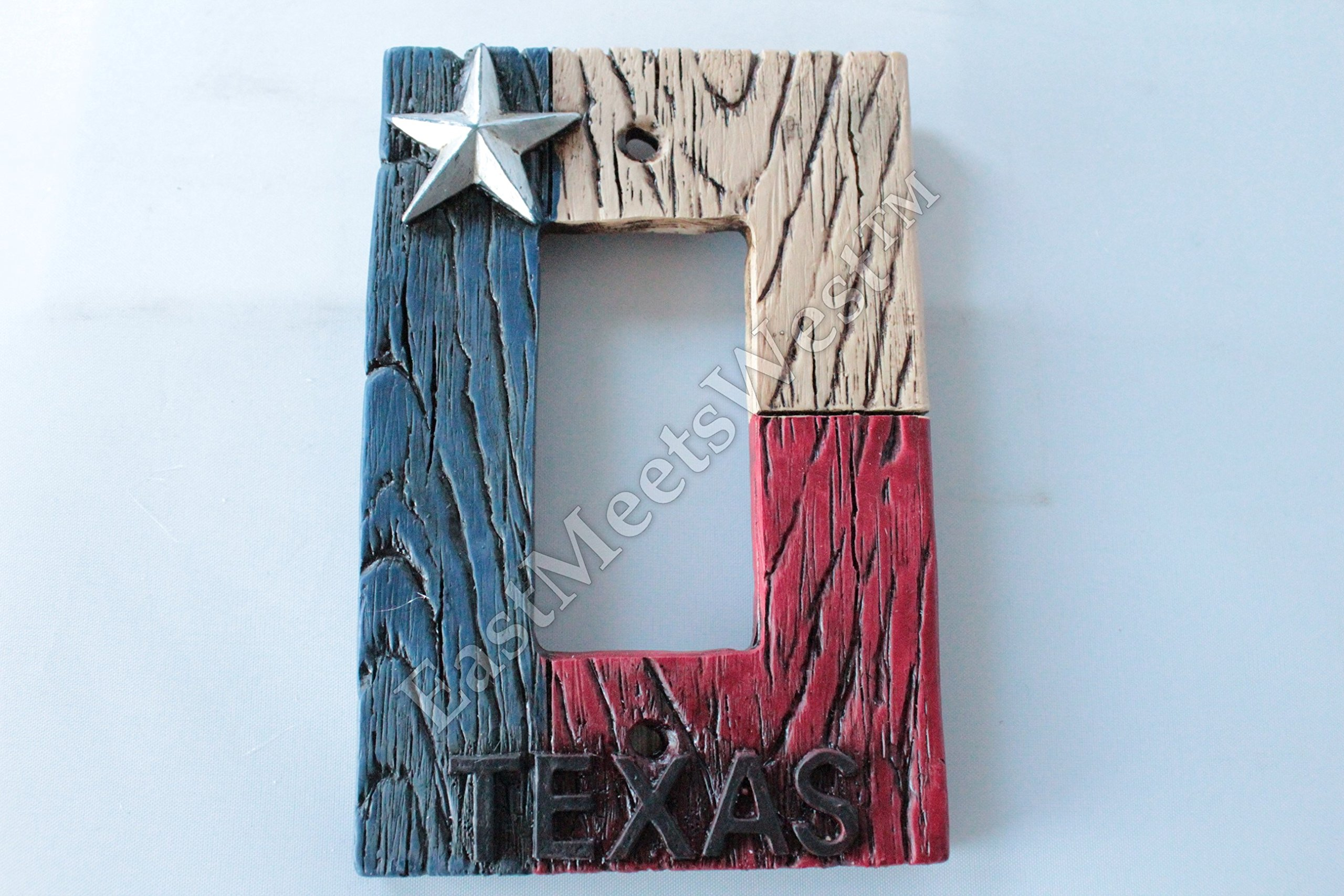 Western Cowboy Texas Flag Star Switch Plate Covers Electric Outlet Rustic Wood Look Decor (Single Rocker)