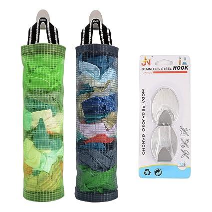 2ee054fb386b Plastic Bag Holder Sulimy Dispensers Folding Mesh Garbage Bags 2pcs Hanging  Storage Bag Trash bags Holder