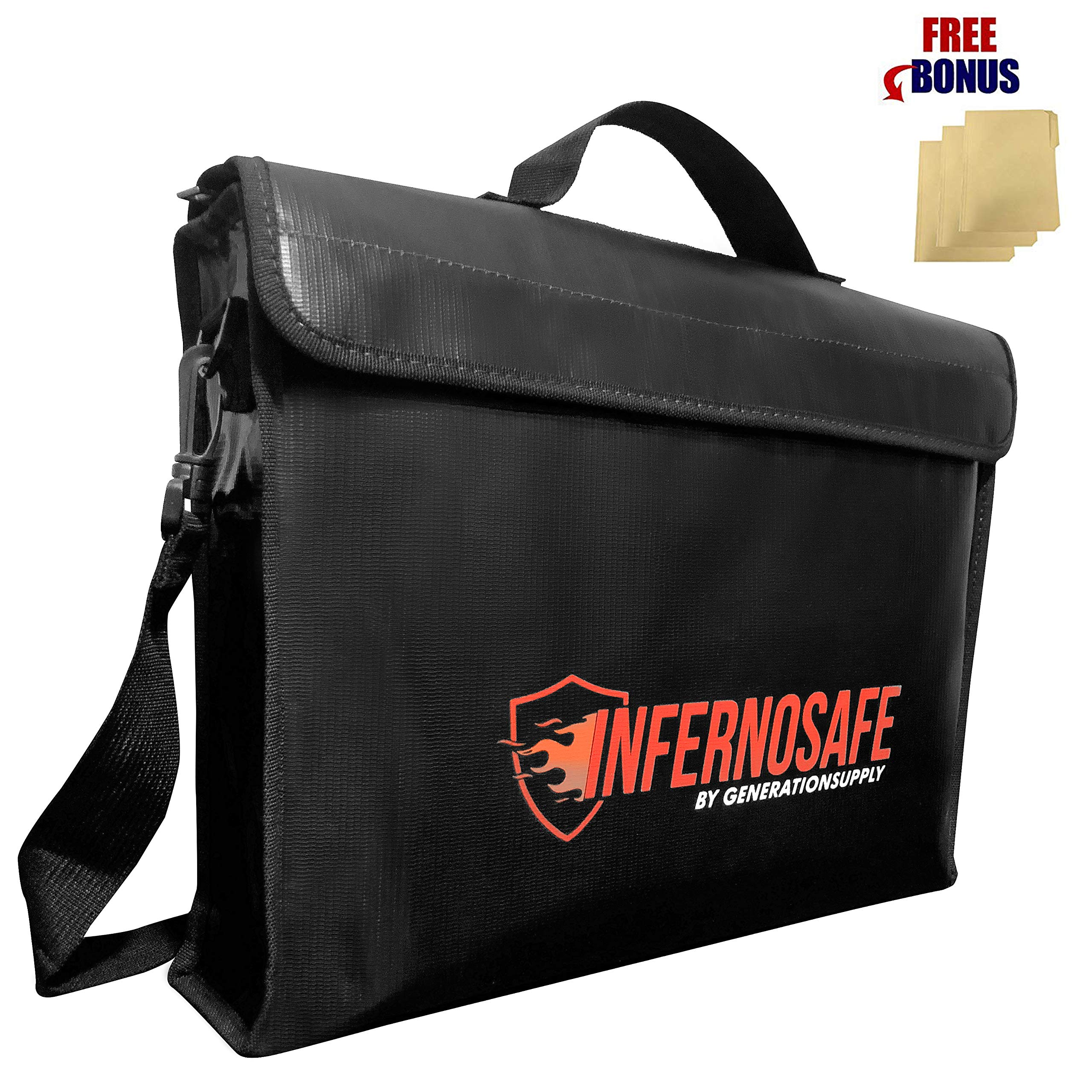 Fireproof Document Bag Waterproof w/Shoulder Strap & File Folders, Fire Resistant Safe, Non-Itchy Silicon Coated, Heavy Duty Protection for Valuable Documents, Jewelry, Passports, Money