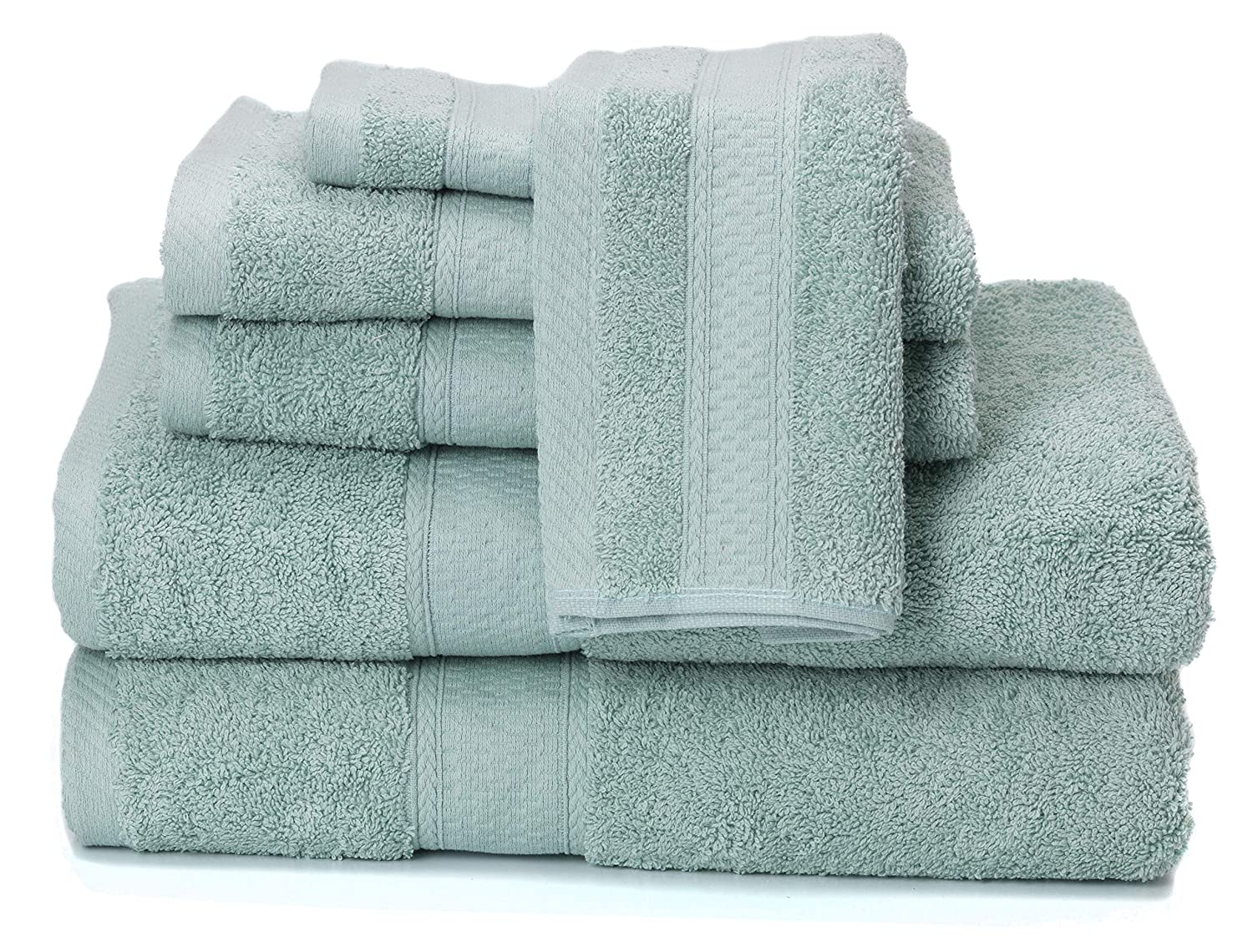 Natural White Terry Towels by SJL SYNCHKG118337 Premium Bamboo Cotton 6 Piece Towel Set Ultra Absorbent and Eco-Friendly