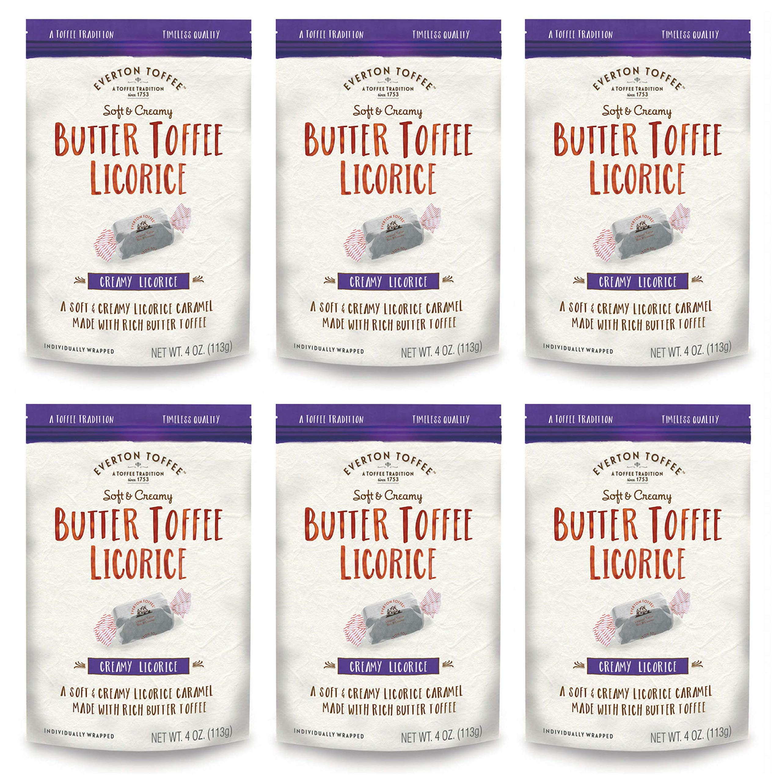 Everton Toffee Butter Toffee Caramels, Licorice Flavor (4 oz. bag, 6-pack). Gourmet, Artisan Soft and Creamy Toffee Caramels, Small Batch Crafted Carmel Candy Treats by Everton Toffee