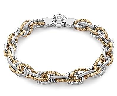 Carissima Gold 9ct Rose Gold Diamond Cut Prince of Wales Bracelet a1Q5izlg