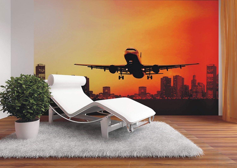 AG Design FTxxl 0183  Nachtflug Flugzeug abheben, Papier Fototapete - 360x255 cm - 4 teile, Papier, multicolor, 0,1 x 360 x 255 cm