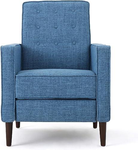 Christopher Knight Home Mervynn Mid-Century Modern Fabric Recliners, 2-Pcs Set, Muted Blue