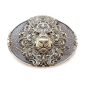 Wild King Lion belt buckle, Handmade animal male lion head solid brass belt buckle