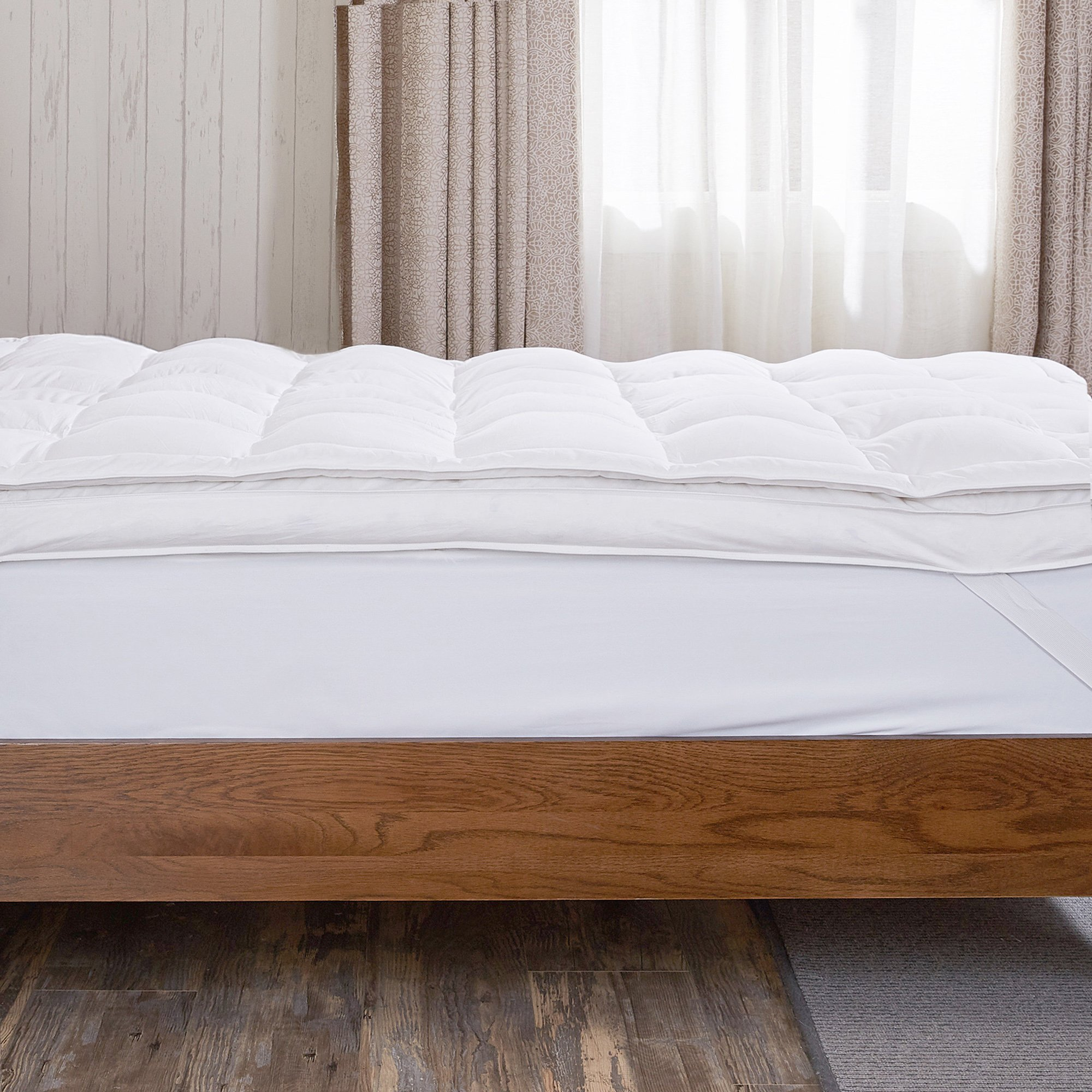 puredown Premium Natural White Goose Down Feather Overfilled Bed Topper 100% Cotton Fabric Mattress Pad Queen Down by puredown (Image #2)