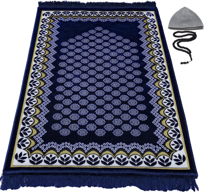 Modefa Prayer Rug Free Prayer Cap & Beads - Thin Velvet Namaz Sajadah Janamaz Floral Daisy Arch (Navy Blue)