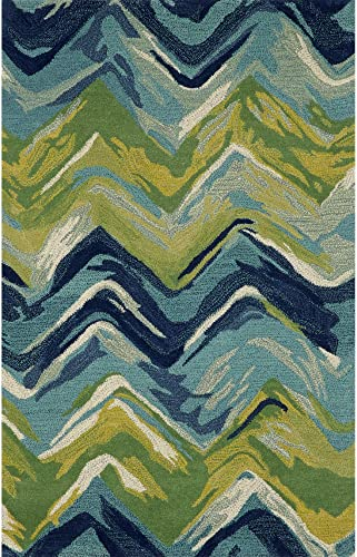 Liora Manne Tivoli Chevron Playa Indoor Wool Rug, 3 6 X 5 6 , Blue and Green