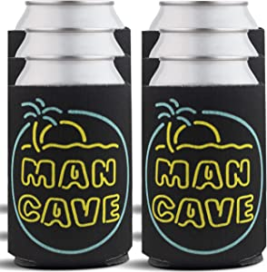 Man Cave Beverage Can Coolers - Cool Stuff for Men, Home Bar Accessories & Man Cave Decor, Beer Cooler Sleeves for Him - Insulated Drink Holders for Dad, Mancave Items - 6-Pack, Black