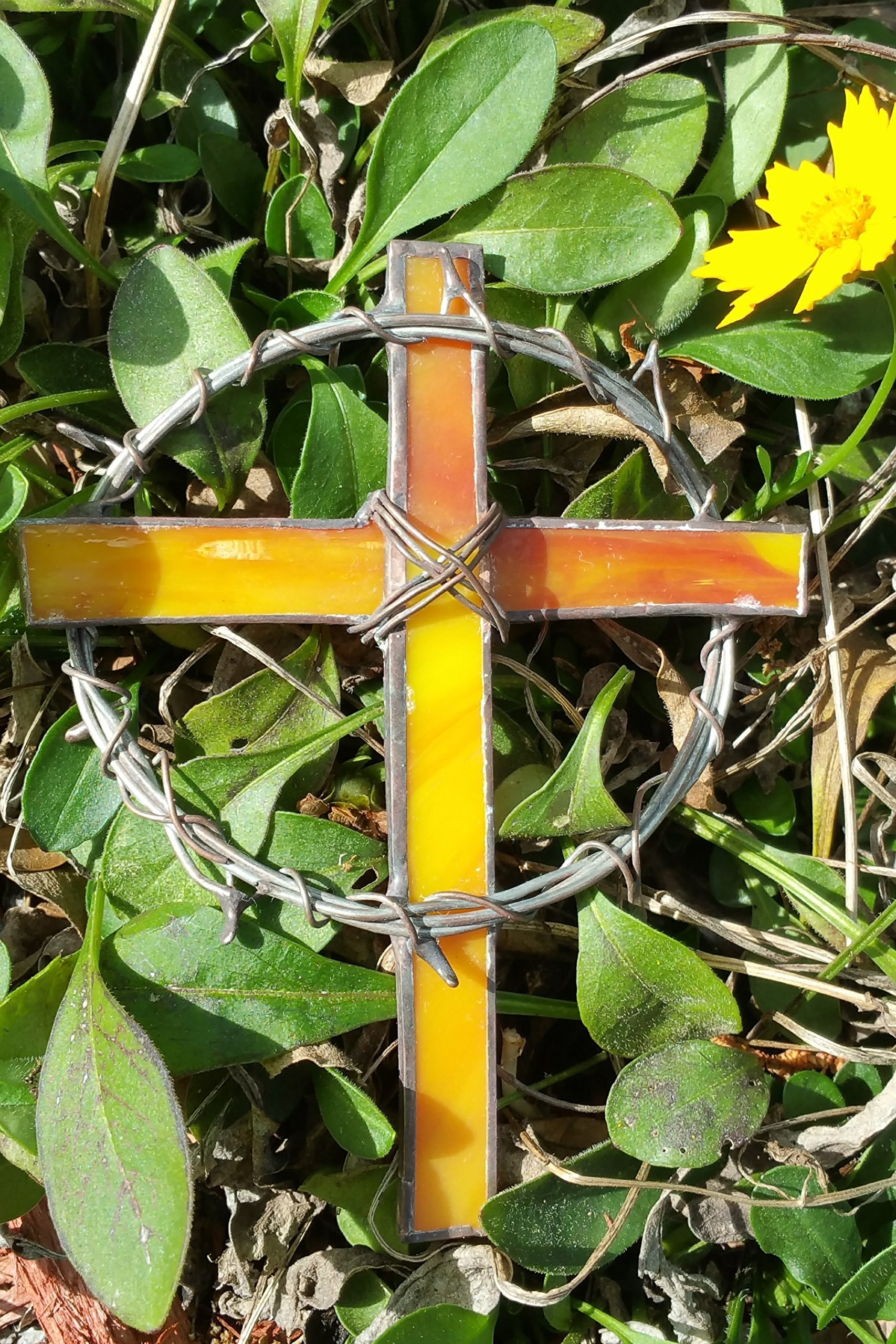 Handmade Stained Glass Crown of Thorns Cross Suncatcher Window Spirit Ornament