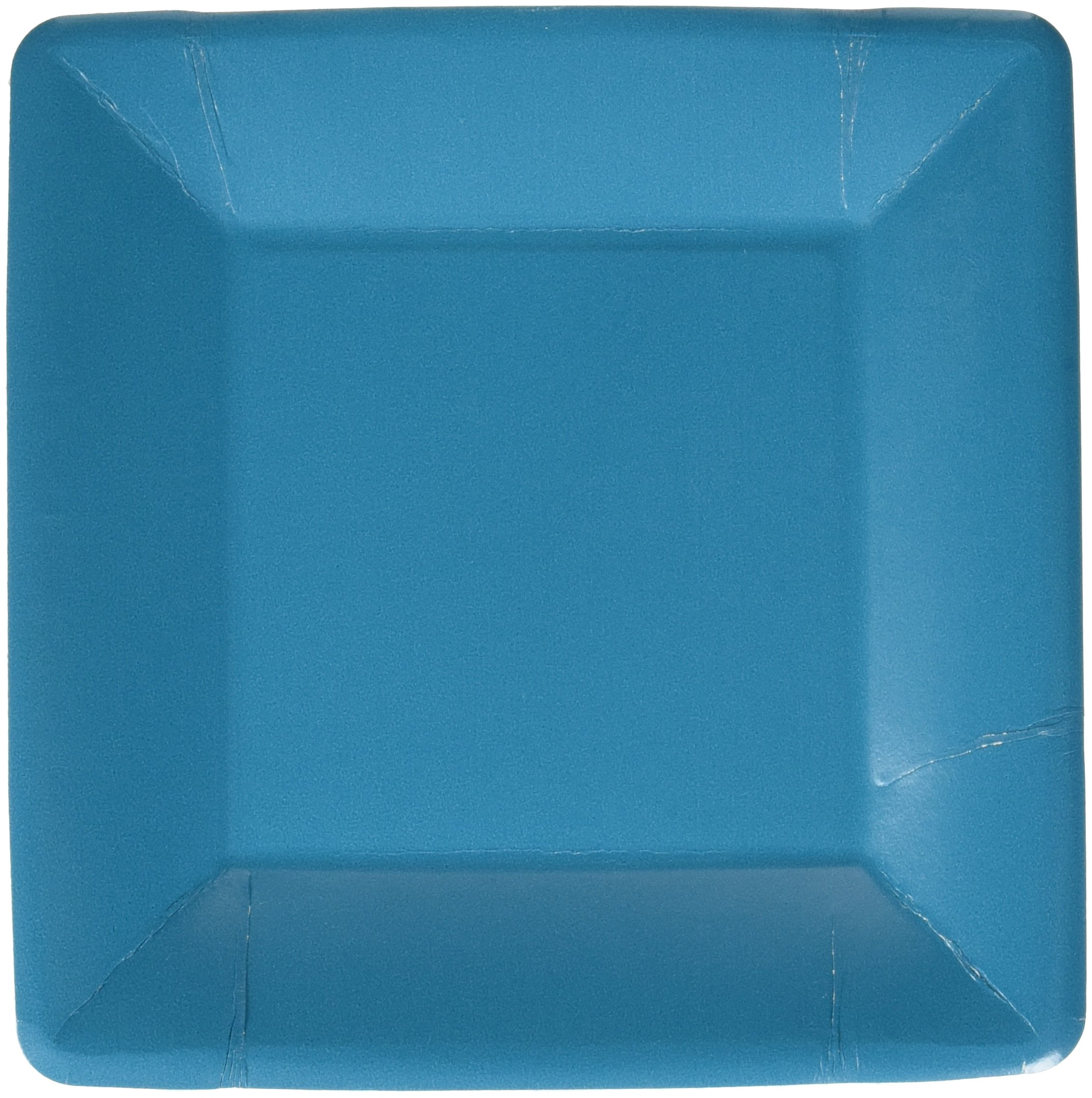 Durable Plain Square Eco Party Plates Tableware, Peacock Blue, Paper, 7'' x 7'', Pack of 20