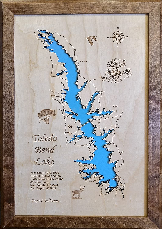 Amazon Com Toledo Bend Lake In Texas And Louisiana Framed Wood Map