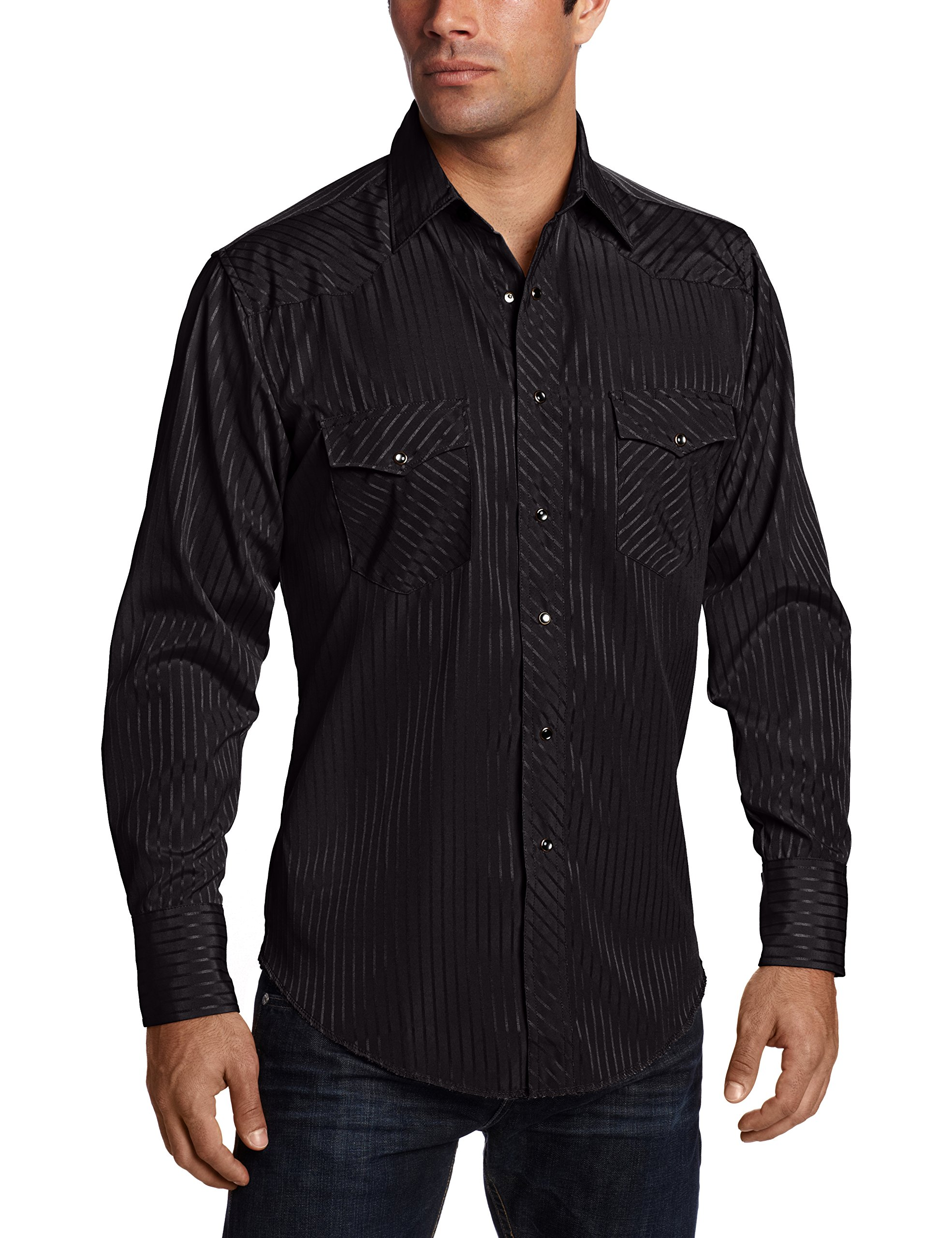 Wrangler Men's Sport Western Snap Shirt Dobby Stripe, Black, X-Large